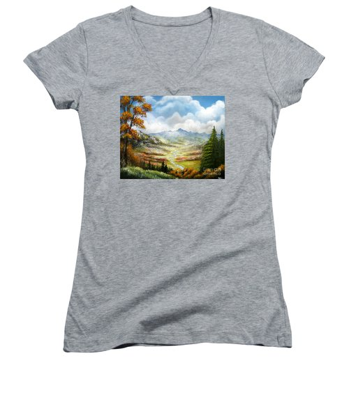 Women's V-Neck T-Shirt (Junior Cut) featuring the painting Dreamin On by Patrice Torrillo