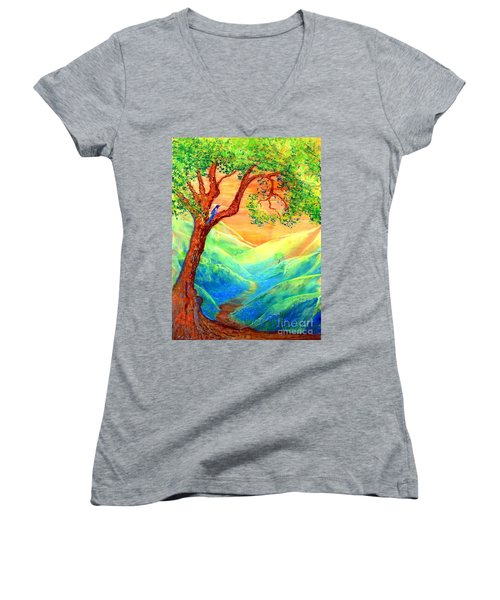 Women's V-Neck T-Shirt (Junior Cut) featuring the painting Dreaming Of Bluebells by Jane Small