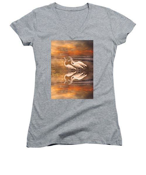 Dreaming Of Egrets By The Sea Reflection Women's V-Neck T-Shirt (Junior Cut) by Betsy Knapp