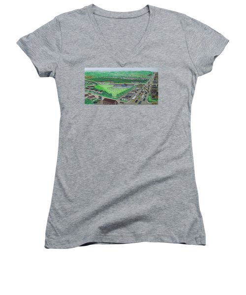 Dreamland Swimming Pool In Portsmouth Ohio 1950s Women's V-Neck T-Shirt (Junior Cut) by Frank Hunter