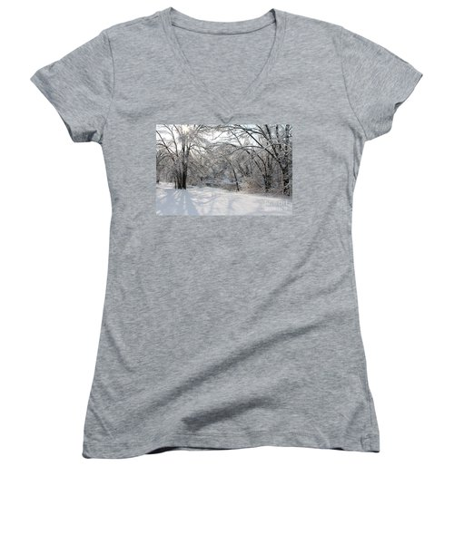 Women's V-Neck T-Shirt (Junior Cut) featuring the photograph Dressed In Snow by Nina Silver