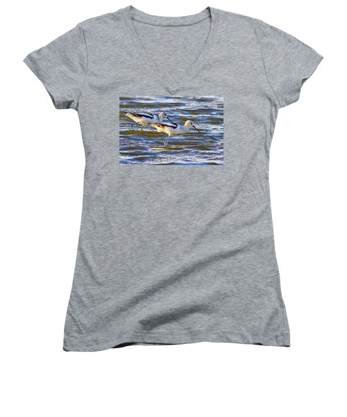 Women's V-Neck T-Shirt (Junior Cut) featuring the photograph Dribbling Contest by Gary Holmes