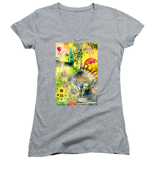 Women's V-Neck T-Shirt (Junior Cut) featuring the mixed media Drifting Away by Ally  White