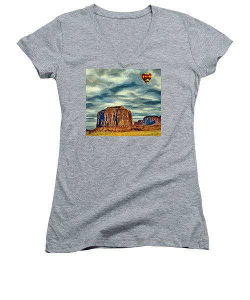 Drifting Over Monument Valley Women's V-Neck T-Shirt (Junior Cut) by Jeff Kolker