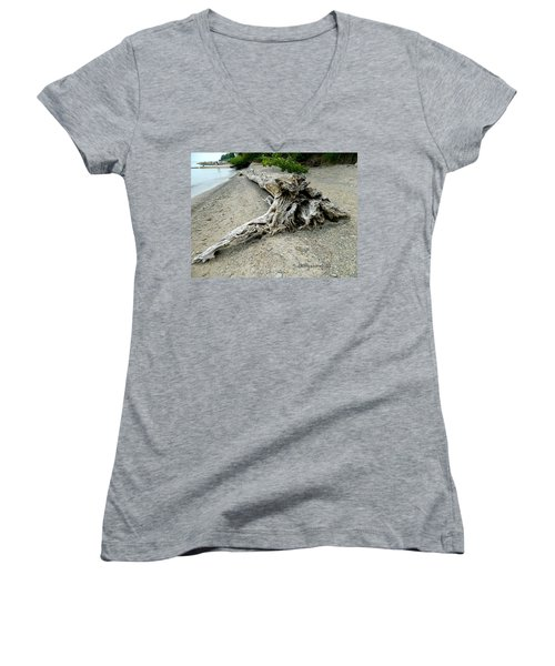 Women's V-Neck T-Shirt (Junior Cut) featuring the photograph Driftwood At Lake Erie by Kathy Barney