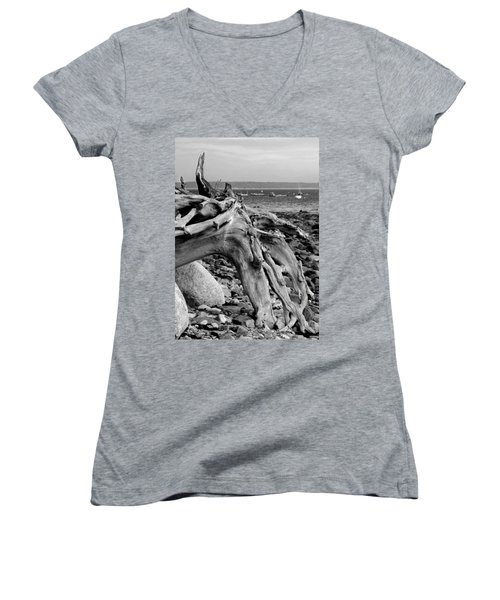 Driftwood On Rocky Beach Women's V-Neck (Athletic Fit)