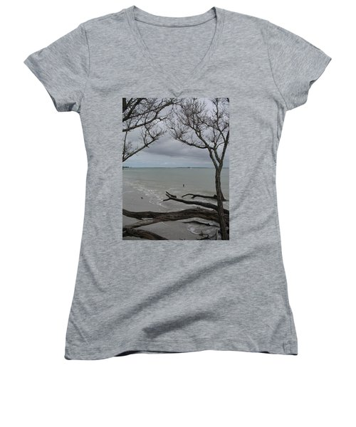 Women's V-Neck T-Shirt (Junior Cut) featuring the photograph Driftwood On The Beach by Christiane Schulze Art And Photography