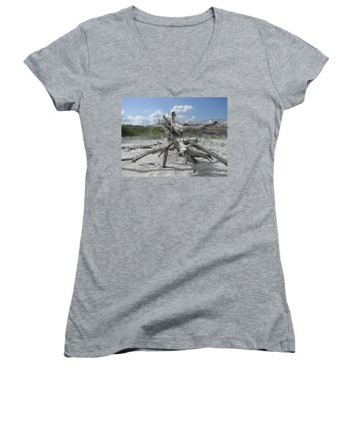 Driftwood Tree Women's V-Neck T-Shirt (Junior Cut)