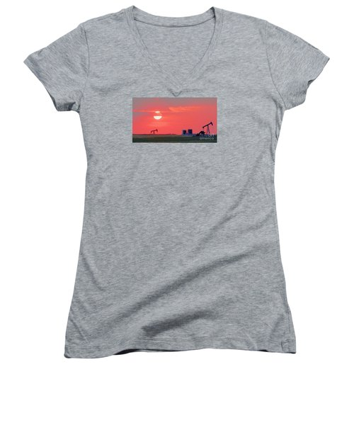 Women's V-Neck T-Shirt (Junior Cut) featuring the photograph Rising Full Moon In Oklahoma by Janette Boyd