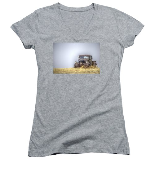 A Rusty Abandoned Truck Near Sturgis South Dakota Women's V-Neck T-Shirt