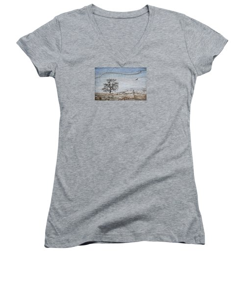 Drought Women's V-Neck T-Shirt (Junior Cut) by Alice Cahill