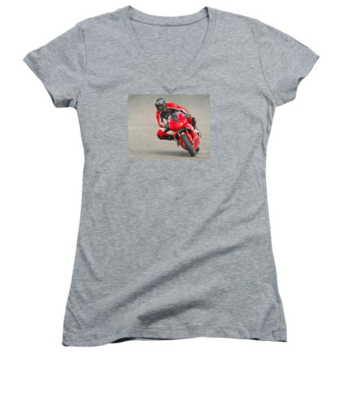 Ducati 900 Supersport Women's V-Neck T-Shirt (Junior Cut) by Jerry Fornarotto