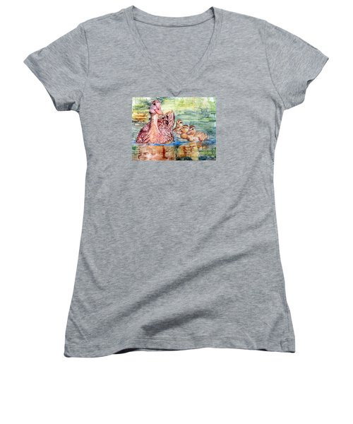 Duck Family Women's V-Neck