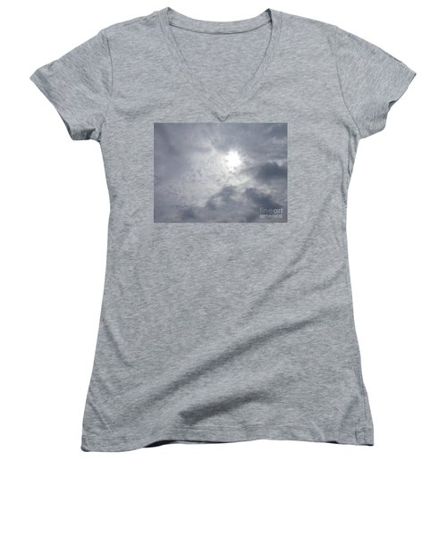 Women's V-Neck T-Shirt (Junior Cut) featuring the photograph Duck In Beautiful Sky by Christina Verdgeline