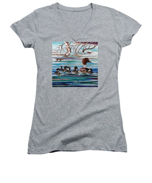 Ducks In A Row Women's V-Neck T-Shirt