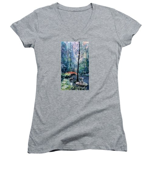 Duke Gardens Watercolor Batik Women's V-Neck T-Shirt (Junior Cut) by Ryan Fox