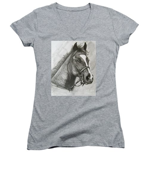 Women's V-Neck T-Shirt (Junior Cut) featuring the drawing Dullahan by Patrice Torrillo