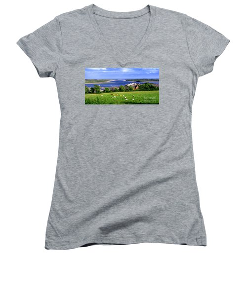 Dundrum Bay In County Down Ireland Women's V-Neck T-Shirt (Junior Cut) by Nina Ficur Feenan