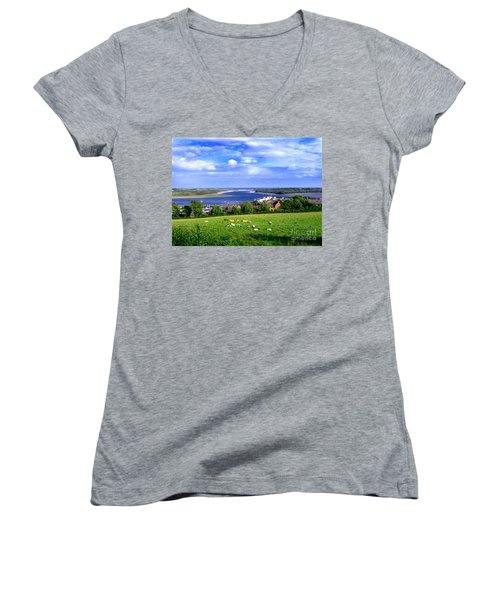 Women's V-Neck T-Shirt (Junior Cut) featuring the photograph Dundrum Bay Irish Coastal Scene by Nina Ficur Feenan