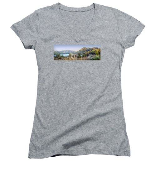 Dune Lake Panorama Saugatuck Mi Women's V-Neck T-Shirt