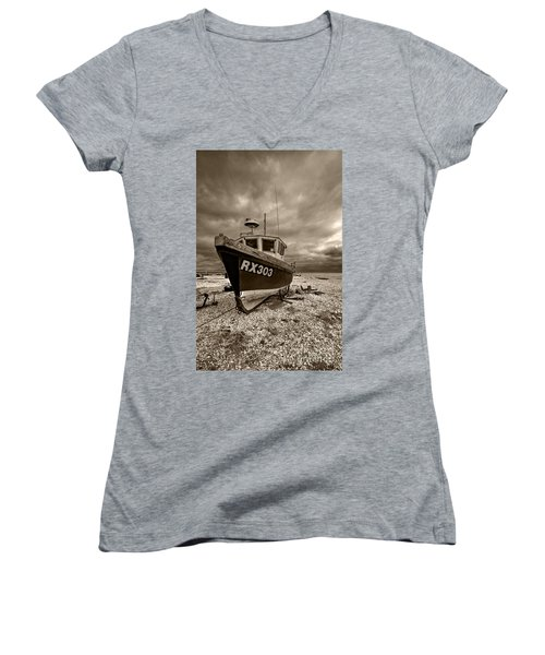 Dungeness Boat Under Stormy Skies Women's V-Neck T-Shirt