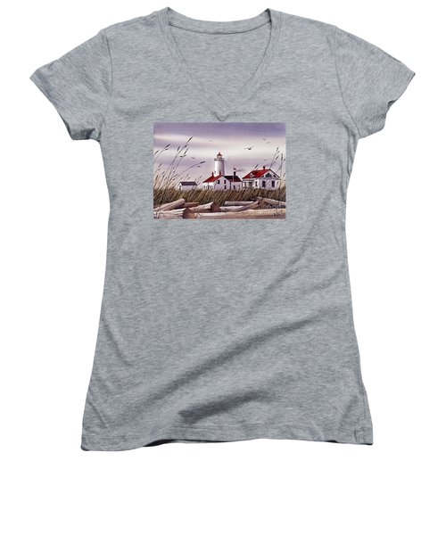 Dungeness Lighthouse Women's V-Neck (Athletic Fit)
