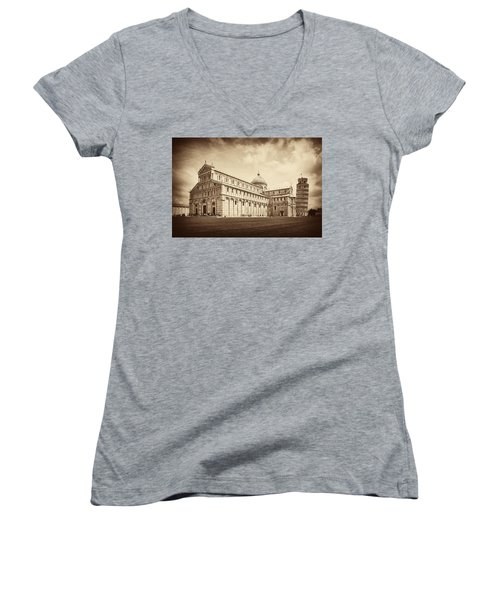 Women's V-Neck T-Shirt (Junior Cut) featuring the photograph Duomo And Tower by Hugh Smith