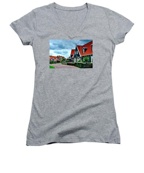 Women's V-Neck T-Shirt (Junior Cut) featuring the photograph Dutch Village by Joe  Ng