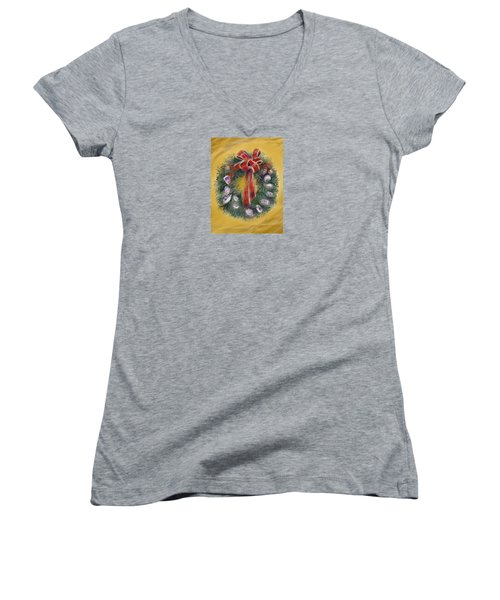 Women's V-Neck T-Shirt (Junior Cut) featuring the painting Duxbury Oyster Wreath by Jean Pacheco Ravinski