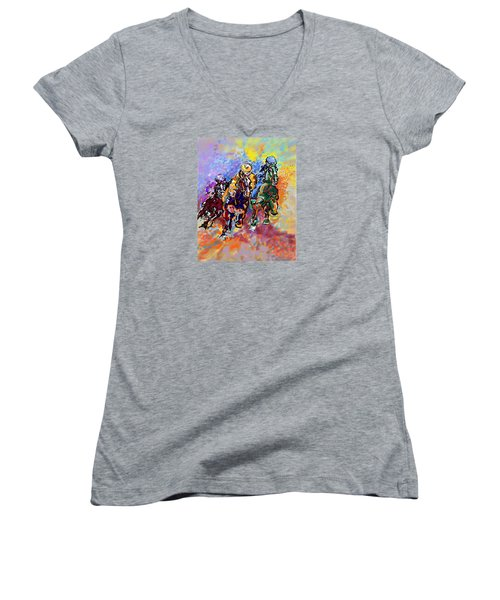 Dynamic Winner Women's V-Neck T-Shirt (Junior Cut) by Mary Armstrong