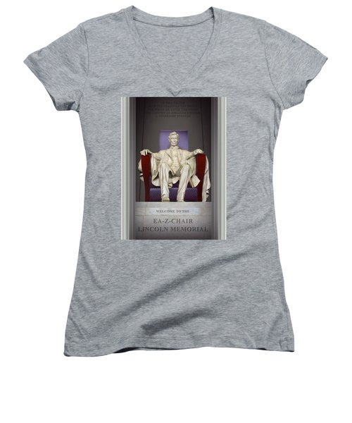 Ea-z-chair Lincoln Memorial 2 Women's V-Neck T-Shirt (Junior Cut) by Mike McGlothlen