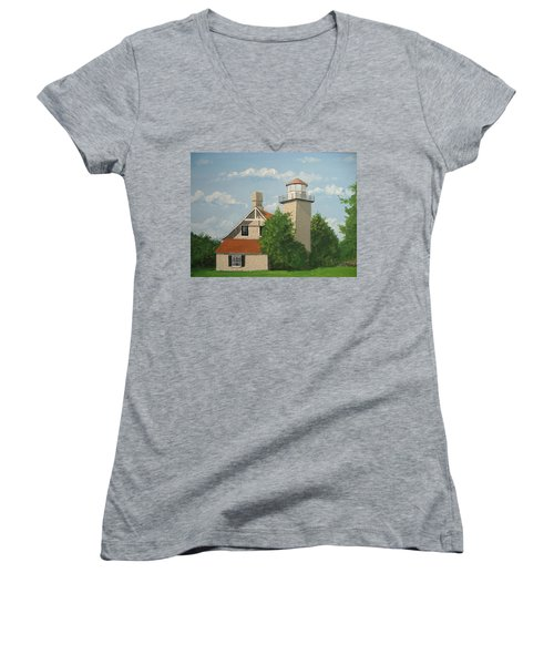 Women's V-Neck T-Shirt (Junior Cut) featuring the painting Eagle Bluff Lighthouse Wisconsin by Norm Starks