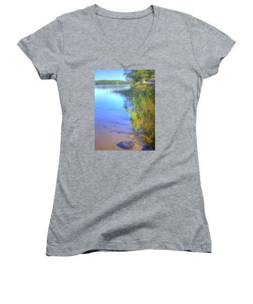 Eagle Point Women's V-Neck T-Shirt (Junior Cut) by Larry Capra