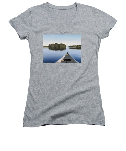 Early Evening Paddle  Women's V-Neck T-Shirt (Junior Cut) by Kenneth M  Kirsch