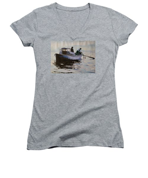 Early Gillnetter At Work Women's V-Neck T-Shirt (Junior Cut) by Bill Hubbard
