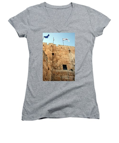 Women's V-Neck T-Shirt (Junior Cut) featuring the photograph Early Morning At The Jaffa Gate by Doc Braham