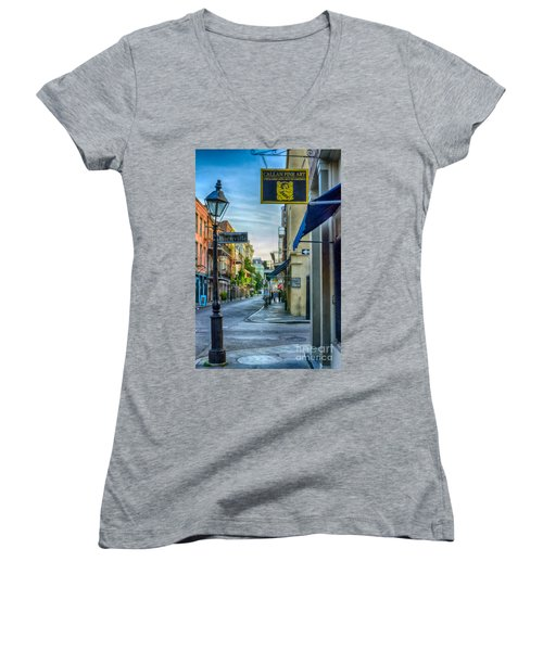 Early Morning In French Quarter Nola Women's V-Neck T-Shirt (Junior Cut) by Kathleen K Parker