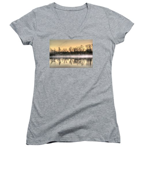 Women's V-Neck T-Shirt (Junior Cut) featuring the photograph Early Morning Mist by Lynn Geoffroy