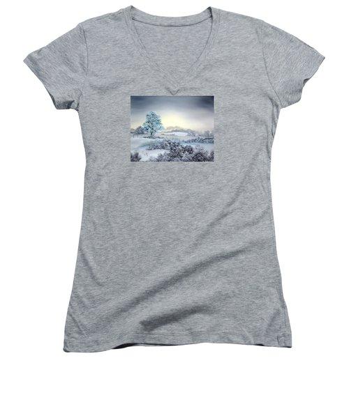 Early Morning Snows Women's V-Neck T-Shirt (Junior Cut) by Jean Walker
