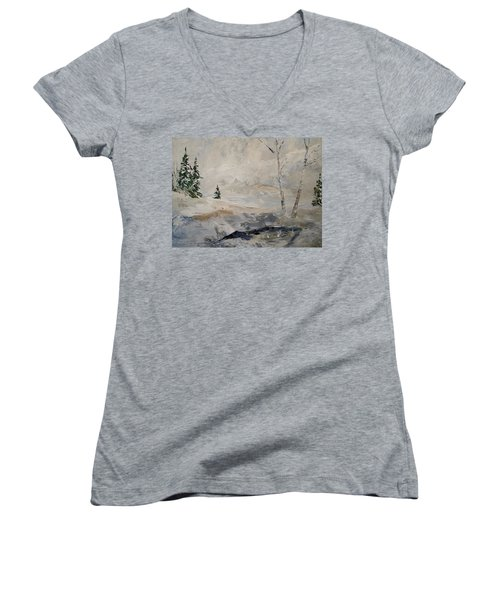 Women's V-Neck T-Shirt (Junior Cut) featuring the painting Early Snow by Alan Lakin