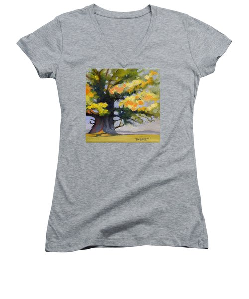 Earlysville Virginia Ancient White Oak Women's V-Neck T-Shirt