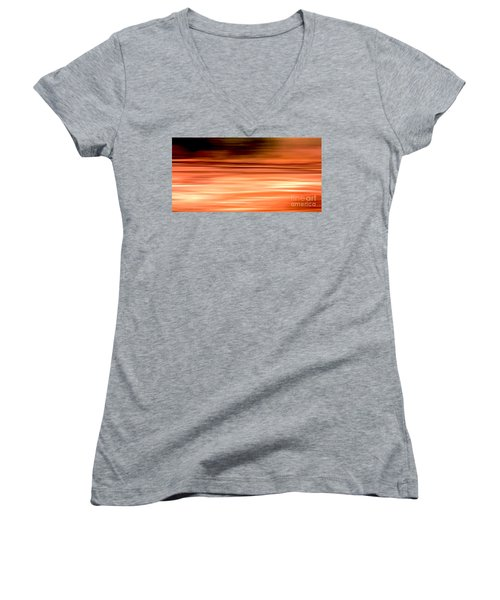 Women's V-Neck T-Shirt (Junior Cut) featuring the digital art Abstract Earth Motion Burnt Orange by Linsey Williams