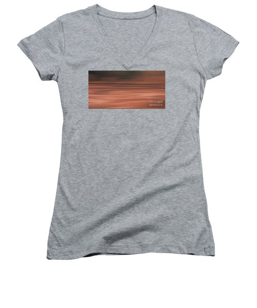 Women's V-Neck T-Shirt (Junior Cut) featuring the digital art Abstract Earth Motion Soil by Linsey Williams