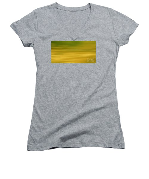 Women's V-Neck T-Shirt (Junior Cut) featuring the digital art Abstract Earth Motion Lemon Grass by Linsey Williams