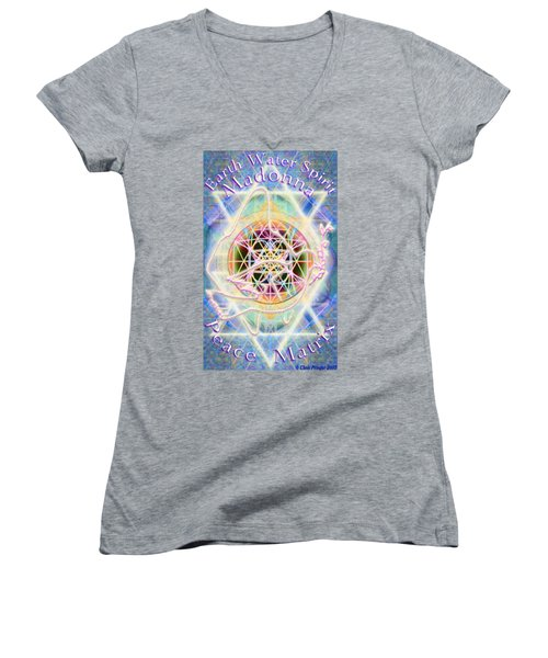 Earth Water Spirit Madonna Peace Matrix Women's V-Neck (Athletic Fit)