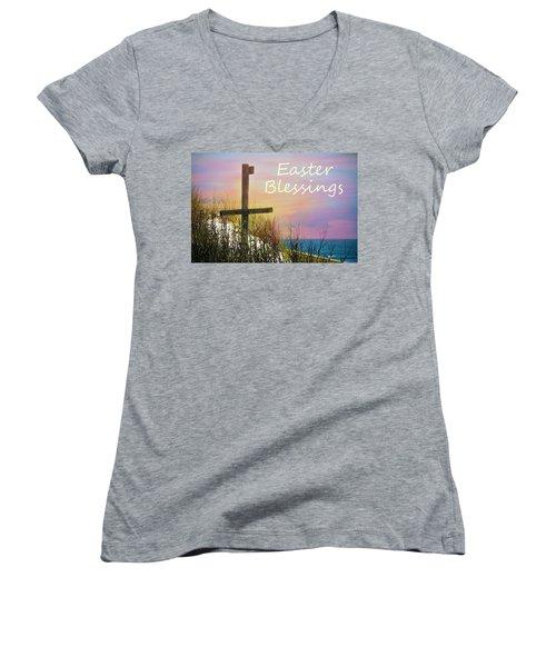 Easter Blessings Cross Women's V-Neck T-Shirt
