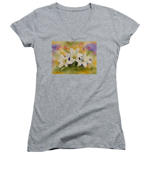 Easter Lilies Women's V-Neck (Athletic Fit)
