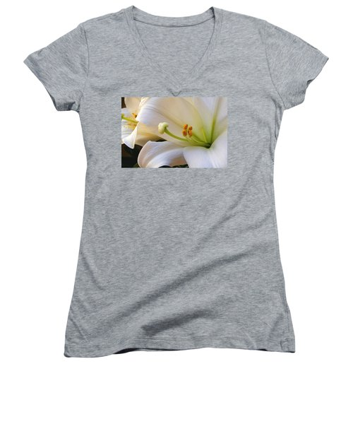 Women's V-Neck T-Shirt (Junior Cut) featuring the photograph Easter Lily by Bonnie Willis