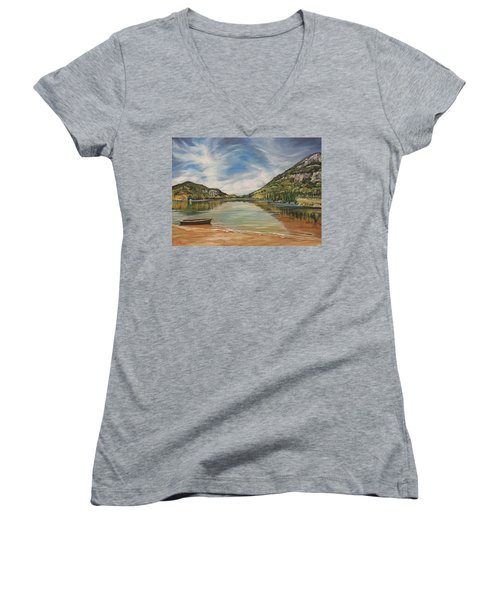 Echo Lake In Franconia Notch New Hampshire Women's V-Neck (Athletic Fit)