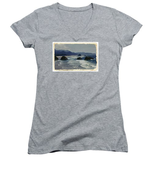 Ecola Sea Stacks Women's V-Neck T-Shirt (Junior Cut) by Chalet Roome-Rigdon